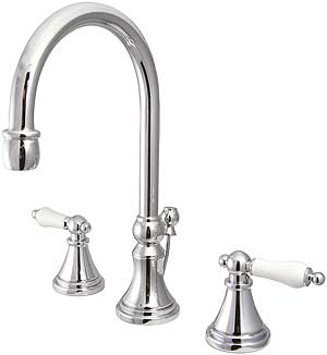 Bar Harbor Widespread Bathroom Faucet With White Porcelain Levers House Of Antique Hardware