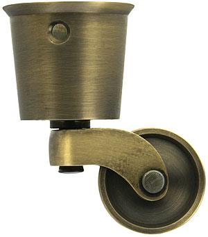 Large Solid Brass Round Cup Caster With 1 1 4 Quot Brass Wheel