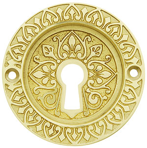 Ornate Flush Door Pull With Keyhole And Two Finish Options
