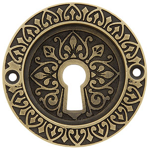 Ornate Flush Door Pull With Keyhole In Antique By Hand