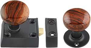 Cast-Iron Narrow Rim-Lock Set with Small Bennington-Style Knobs