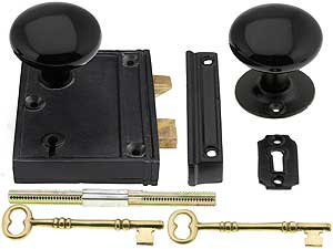 Cast Iron Vertical Rim Lock Set With Black Porcelain Door