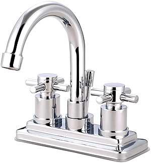 Delray Centerset Bathroom Faucet With Gooseneck Spout And Bauhaus Cross Handl