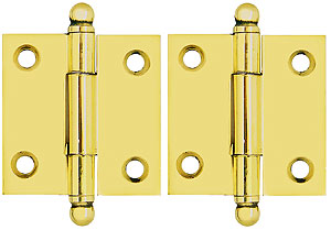 Pair Of Solid Brass Ball Tip Cabinet Hinges 1 1 2 Quot X 1 1