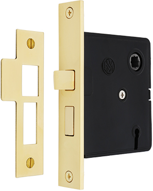 Reproduction Mortise Lock With Solid Brass Faceplate 2 1