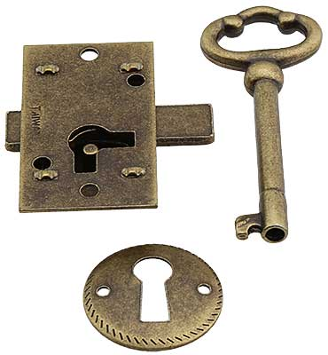 Small Brass Plated Non Mortise Cabinet Lock In Antique