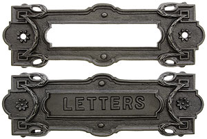 cast iron neo classical letter slot with vintage iron finish