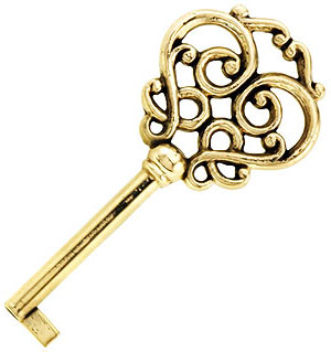 Solid brass drawer key with fancy bow house of antique for Classic house keys samplephonics