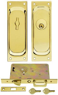 Keyed Pocket Door Mortise Lock Set With Rectangular Pulls