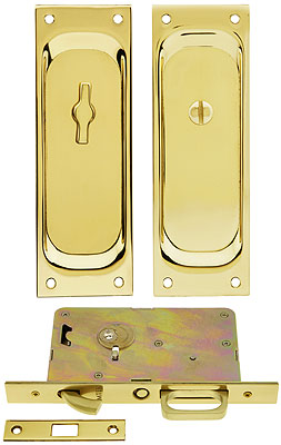 Privacy Pocket Door Mortise Lock Set With Rectangular Pulls | House on