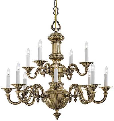 English Georgian 12 Light Chandelier In Classic Brass