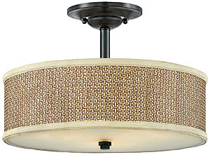 Rattan Drum Shade Semi Flush Mount With Mystic Black