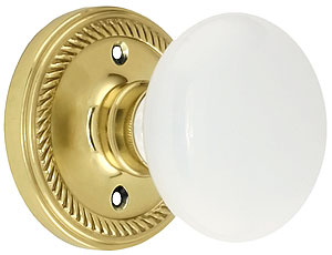 Rope Rosette Door Set With White Porcelain Door Knobs | House of ...