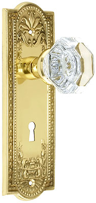 Meadows Design Mortise Lock Set With Waldorf Crystal Knobs
