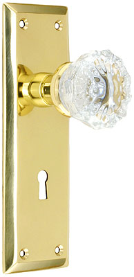New York Mortise Lock Set With Fluted Crystal Door Knobs