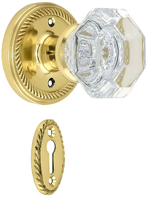 Rope Rosette Mortise Lock Set With Waldorf Crystal Knobs