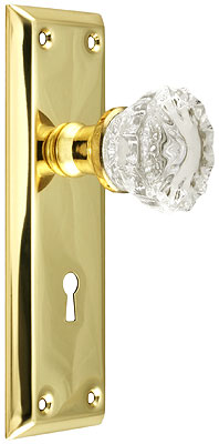 Fluted Crystal Knob Mortise Lockset Backplates