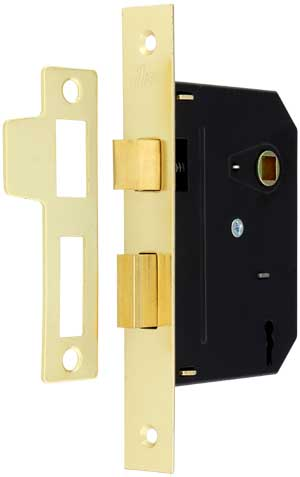 Standard Mortise Lock With Strike Plate And Keys 2 1 4 Backset In Bright Brass House Of