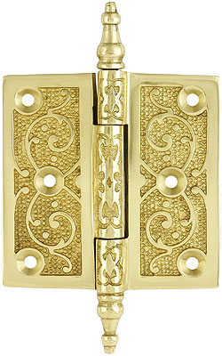 3 1 2 Quot Solid Brass Steeple Tip Hinge With Decorative Vine