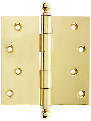 4 Quot Solid Brass Door Hinge With Ball Finials House Of