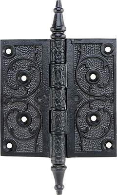 4 1 2 Quot Black Iron Steeple Tip Hinge With Decorative Vine
