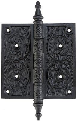 5 Quot Black Iron Steeple Tip Hinge With Decorative Vine