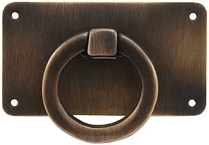 Mission Style Horizontal Drawer Ring Pull In Antique By