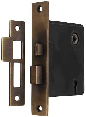 Reproduction Mortise Lock With Solid Brass Faceplate In