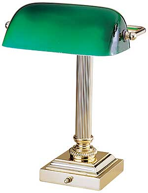 Emeralite 13 1 4 Inch Bankers Desk Lamp With Green Gl Shade