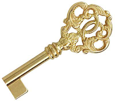 Large Solid Brass Barrel Key With Decorative Bow House