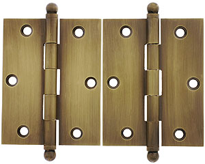Pair Of Solid Br Ball Tip Cabinet Hinges In Antique By Hand