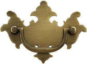 Colonial Chippendale Brass Bail Pull In Antique By Hand