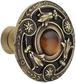 Jeweled Lily Cabinet Knob Inset With Tiger Eye 1 3 8