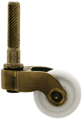 Solid Brass Stem Caster With Porcelain Wheel In Antique By