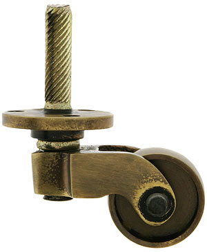 Solid Brass Stem And Plate Caster In Antique By Hand Finish House Of