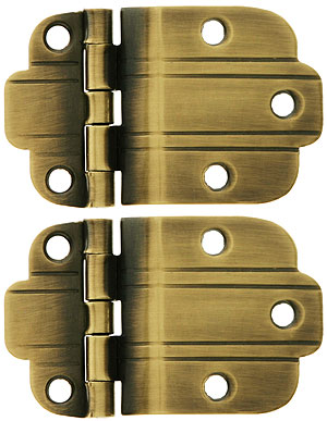 Pair Of Solid Brass 3 8 Quot Offset Deco Style Cabinet Hinges