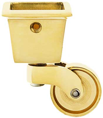Large Square Cup Caster With 1 1 4 Quot Brass Wheel House Of