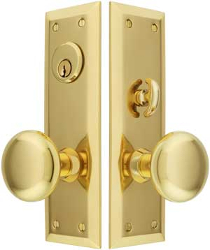 New York Large Plate Mortise Entry Set In Forged Brass