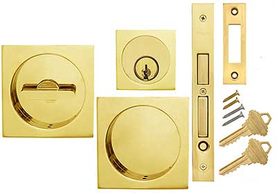 Premium Keyed Pocket Door Mortise Lock Set With Square