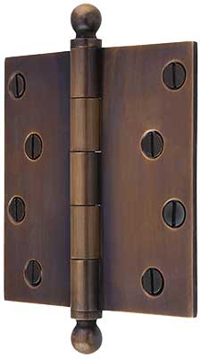 4 Quot Solid Brass Door Hinge With Ball Finials In Antique By