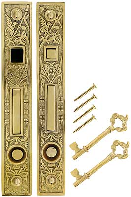 Hummingbird Bit Key Double Pocket Door Mortise Lock