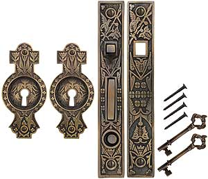 Hummingbird Bit Key Single Pocket Door Mortise Lock Set