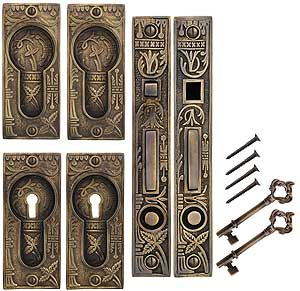 Broken Leaf Bit Key Double Pocket Door Mortise Lock Set
