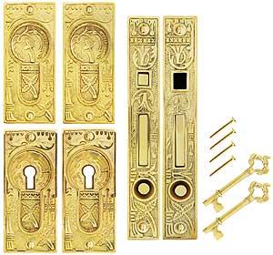 Broken Leaf Bit Key Double Pocket Door Mortise Lock Set