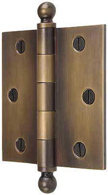 3 1 2 Quot Solid Brass Door Hinge With Ball Finials In Antique
