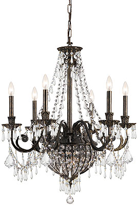 Vanderbilt Iron Amp Crystal 6 Arm Chandelier With English