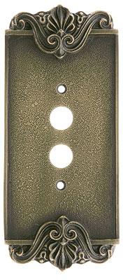 Art Nouveau Single Push Button Cover Plate In Antique By
