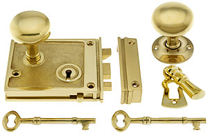 Solid Brass Horizontal Rim Lock Amp Knobs In Unlacquered