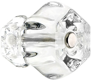 Large Hexagonal Glass Cabinet Knob With Nickel Bolt