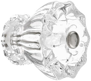 Large fluted glass cabinet knob with nickel bolt house for Glass bureau knobs
